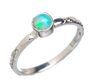 Opal Ring Small Opal Solitaire Ring Opal Engagement Ring Opal Stacking Ring 5mm Genuine AAA High Quality Opal in Solid Sterling Ring Size 6