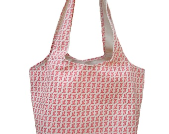 Sale! canvas tote bag BIRD'S FEET pattern by Balanced Design