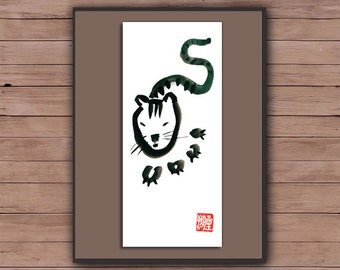 Zen Tiger, Chinese Zodiac,Year of the Tiger, Zen Fine Art Sumi-e Painting-zen decor, childrens room art, nursery art, japan scroll, taoist