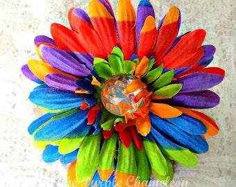 4 in Rainbow Flower Clip Rhinestone Flower Clip Birthday Party Favor Red Purple Orange Blue Lime Green Girls Hair Clip