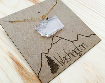 Acrylic Washington state necklace with gold filled chain and Swarovski crystal, laser cut, PNW