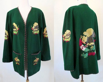 Killer 1940s Embroidered Mexican Tourist Jacket with Eagle & Serpent Rockabilly VLV Vintage Western Mexicana Mexi Jacket Size-Large /Xlarge