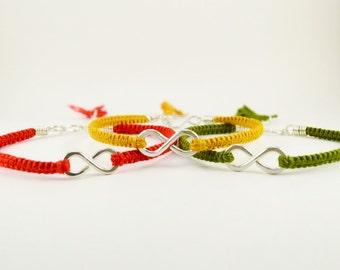 Silver Infinity Bracelet with Custom Macrame Silk Band