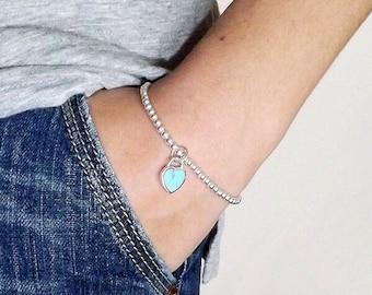 Silver bead bracelet, Silver Bracelet, Bead bracelet, Stacking  Bracelet  Stretch bracelet, Beaded bracelet, Layering Bracelet, Stackable