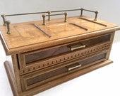 Vintage Dresser Caddy, Wooden Dresser Caddy, Vintage Office Organizer, Office Caddy, Wood Jewelry Box, Two Drawer Wooden Dresser Caddy Valet