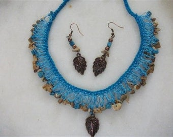Turquoise Crochet Shaky Necklace