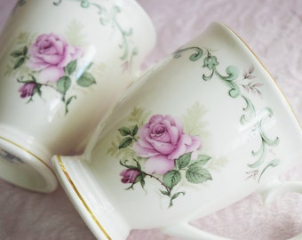 TEACUP Coffee MUG SET Staffordshire England Royal Patrician Green Scroll Baby PInk Rose 22K Gold Trim Fine Bone China Tea Cup Latte Drink