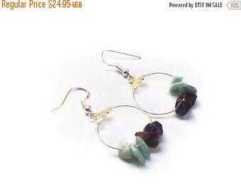 ON SALE Larimar Jewelry Larimar hoop earrings and Amethyst