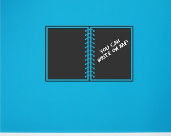 Chalkboard Vinyl Notebook Wall Decal Removable and Repositionable Chalkboard Wall Sticker Art