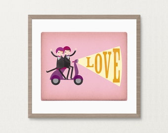Groom and Groom Gay Moped Love Wedding - Customizable 8x10 Archival Art Print