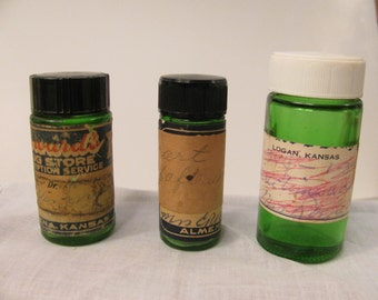 3 Green Glass Prescription Bottles - Vintage - Mid Century - Drug Store Collectible