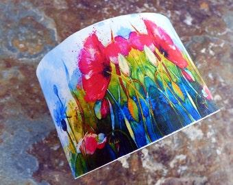 Poppies field polymer clay cuff