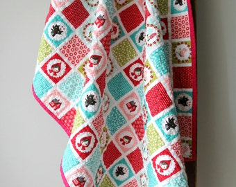 Baby Girl Quilt, Little Red Riding Hood, Modern Baby Quilt, Woodland Quilt, Nursery Bedding, Big Bad Wolf, Red and Aqua, Handmade Quilt