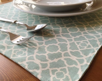 Teal Print Placemats -(Reversible) Set of 4