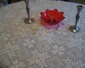 "Vintage Crochet Tablecloth, Beige, Ecru, Large size 80"" x 64, Unused"