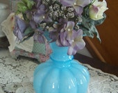 Valentines SALE Vintage Blue FENTON Melon Vase, Large Ruffled Vase, 1930s, 40s, 50s,  Cottage Chic