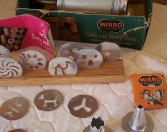 SALE Vintage Mirro Cookie & Cake Decorator Set, Complete w/Box, Aluminum Copper Finish