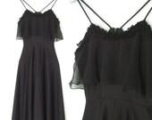 SALE Vintage 70s Dress * Slinky 1970s Dress * Flouncy Ruffle Black Dress * Small