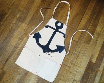 Apron Full Length, Navy Anchor, hand printed on canvas