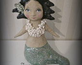 Mermaid art doll sculpture - papier mache- folk art
