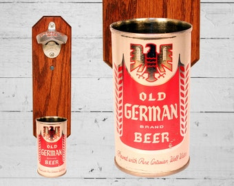 Old German Wall Mounted Bottle Opener with Vintage Beer Can Cap Catcher