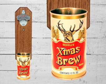 Father Gift Christmas Brew Wall Mount Bottle Opener Vintage Schell's Xmas Beer Can Cap Catcher
