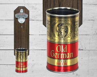Old German Wall Mounted Bottle Opener with Vintage Beer Can Cap Catcher - Groomsmen Gift