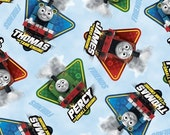 Thomas the Train Fast Friends - character toss in Blue - Cotton Print Fabric by Quilting Treasures - you choose the cut