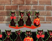 Printable Halloween Black Cat Table Decor Centerpiece Retro Beistle Printable Halloween Vintage Party Decor Table Banner Digital Download