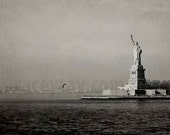 New York Print- Statue of Liberty- NYC Art- Neutral- Gray Wall Art- New York City Photography- Manhattan