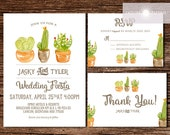 Beautiful Watercolor Cactus Wedding Invitation Set, Wedding Fiesta, Printable Invite, Cactus Invite, Destination Wedding, DIY, jadorepaperie