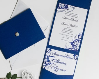 Ornate Swirl Wedding Invitation Set - Deposit
