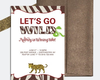 Birthday Party Invitation for Boys or Girls - Jungle Themed - Animals and Zebra Print - DEPOSIT