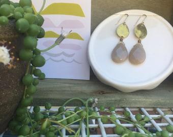 Double Brass Drop Earrings