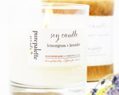 Soy Candle - Lemongrass Lavender in Glass Jar and Gift Paper Box