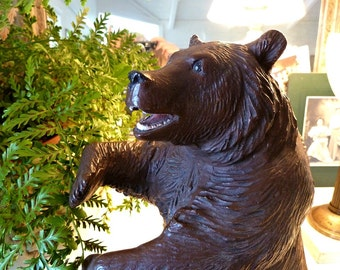 Vintage Brown Bear Sitting Up Mouth Open Large Plaster Statue
