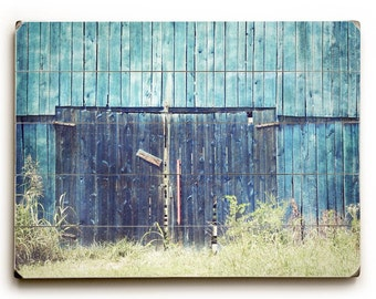 Wood Plank Art, Rustic Barn on Wood, Wood Wall Art, Blue Barn Photograph, Wood Plank Sign, Country Decor, Art on Wood