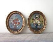 Vintage Small Oil Paintings of Flowers in Gold Wood Frames Set of Two Signed Made in Italy