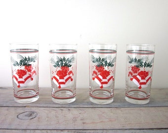 Vintage Christmas Glasses Bells and Holly Set of 4 Barware Cocktail Glasses Tumblers