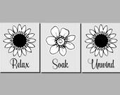 Bathroom Art Set Relax Soak Unwind Black White Gray Bathroom Decor Flowers Wall Art Flowers Set of 3 Prints or Canvas
