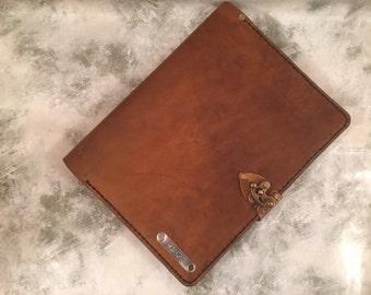 Handmade leather iPad 3 case - personalized iPad cover - leather iPad 4 case - distressed brown leather iPad cover - iPad Air - iPad Air 2