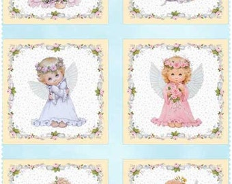 """ANGEL FABRIC PANEL ~ 6 Different Angels Depicted in the Fabric ~ 100% Cotton Fabric Panel ~ 23 1/2"""" x 44"""" by Elizabeth's Studio M4107"""