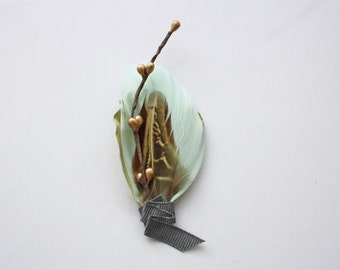 AGAVE Boutonniere in Mint, Succulent Green, Antique Gold and Brown