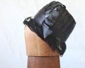 c1950's Black Feather Fedora