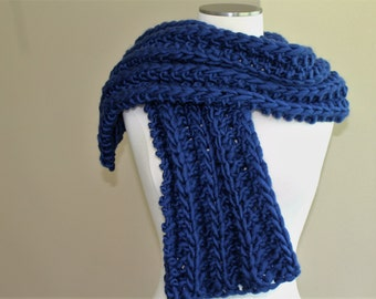 Navy Blue Wool Scarf for Men Big Knit Ribbed Wool Scarf Knit Scarf in Navy Blue, Warm Winter Wool Scarf, Black Wool Scarf, Scarves Men Women