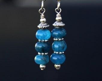 Blue Apatite Earrings, Long Earrings, Gemstone Earrings, Boho Earrings