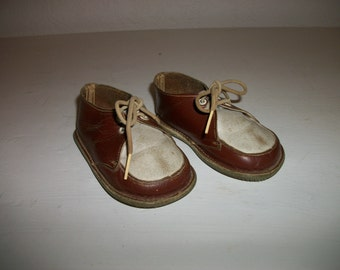 Vintage Gertrudes Leather Baby Shoes Size 2