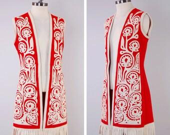 Vintage 60s red felt wool HUNGARIAN vest / vintage bohemian GILET / ethnic folk tunic vest