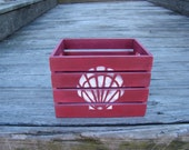 Seashell crate, small wood crate, red box, hand painted, storage container, barn red, rustic decor, beach decor, nautical, remote holder