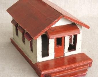 Miniature House, Folk Art, Primitive, Wooden House, Handmade, Miniature Building, Architecture, Architectural, Miniatures, Houses, Train